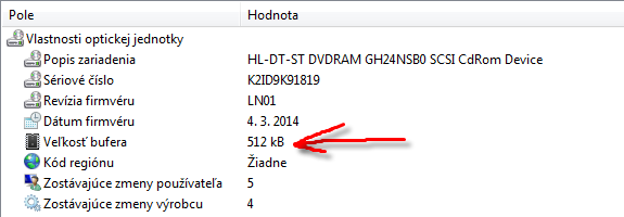 LG GH24NSB0 bufer 2MB, no je len 512Kb