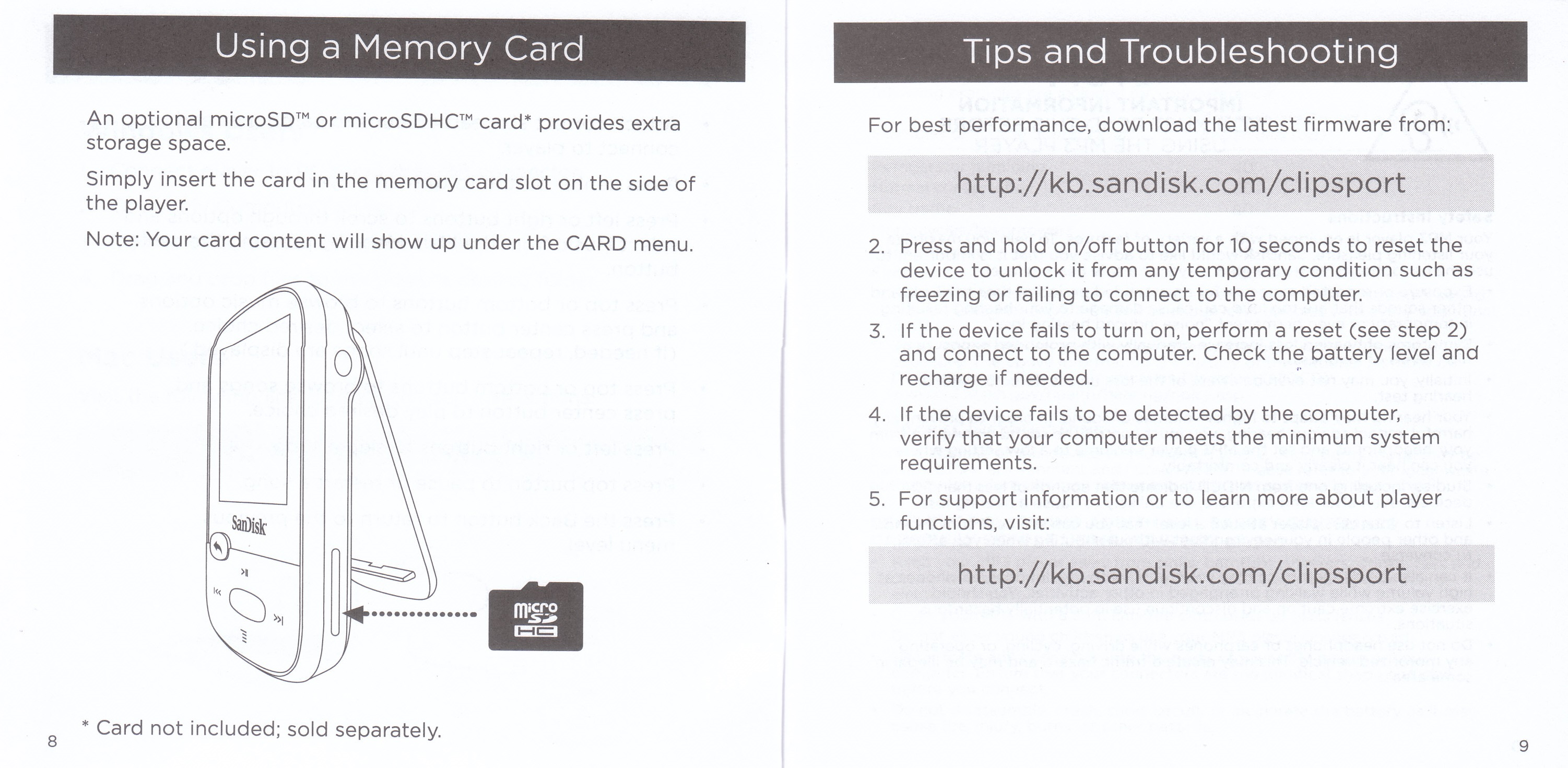 sandisk mp3 player instruction manual